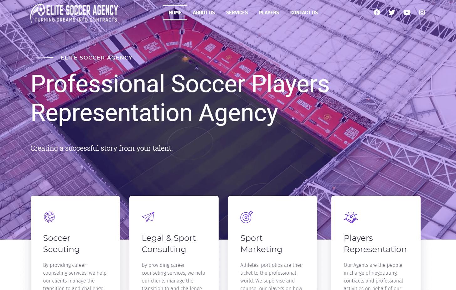 Elite-Soccer-Agency | wing-my-web